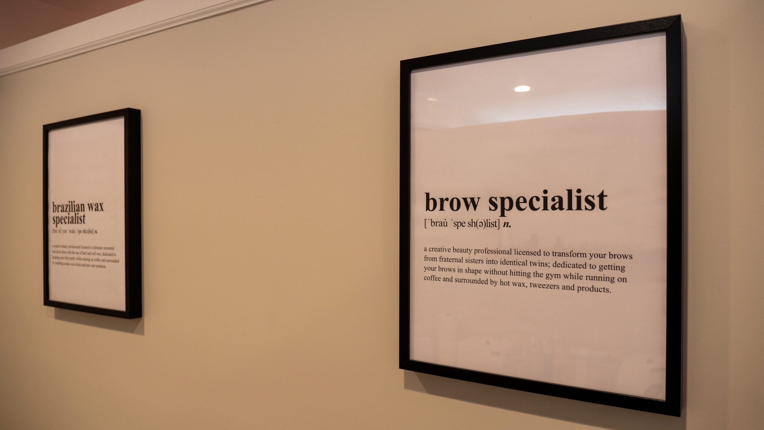 brow waxing specialist sign at Rockville, Center, NY location